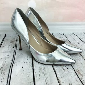 CHARLES BY CHARLES DAVID SILVER POINTED TOE PUMPS